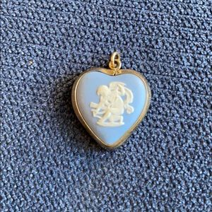 Blue Wedgwood heart pendant 12k gold filled bezel